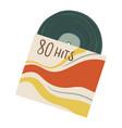 vintage vinyl plate with hits eighties 80s vector image vector image