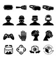 virtual reality and headset glasses icons vector image vector image