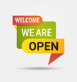 welcome back sticker we are open again after vector image vector image
