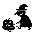 Witch with pumpkin silhouette vector image vector image
