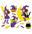 Witches - Halloween Set vector image vector image