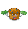 with money bag mufin blueberry mascot cartoon vector image vector image