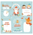 Cute Christmas cards labels and stickers vector image