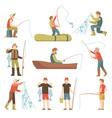 summer fishing sport vacation flat icons vector image