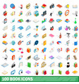 100 book icons set isometric 3d style vector image