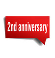 2nd anniversary red 3d speech bubble vector image vector image