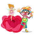 A big flower with a fairy and a clown vector image vector image