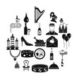 banquet hall icons set simple style