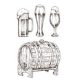 beer set and round wooden cask vector image vector image