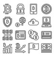 bitcoin icons set on white background line style vector image