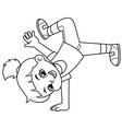 break dancer girl practicing her moves bw vector image vector image