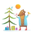 Brown bear wearing warm winter coat with birds vector image