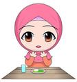cartoon chibi muslim woman character pray before vector image vector image