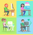 cartoon employees work at computer in office set vector image vector image