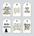 christmas and new year gift tags cards xmas gold vector image