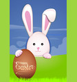 Cute easter bunny with easter eggs egg hunter