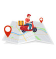 express delivery motorcyclist courier on moped vector image