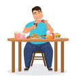 funny fat obese man eating hamburger fast food vector image