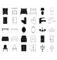 furniture and interior blackoutline icons in set vector image vector image