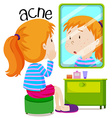 Girl looking at acnes in the mirror vector image vector image