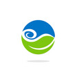 green leaf water bio ecology logo vector image