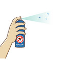 hand holding mosquitoes repellent spray can vector image