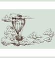 hot air balloon up in sky retro poster vector image vector image