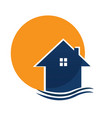 house and sun logo vector image