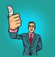 man bandaged finger vector image vector image
