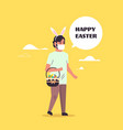 man wear bunny ears and face mask to prevent vector image vector image