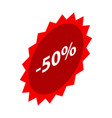 minus 50 percent sale red icon isometric style vector image vector image