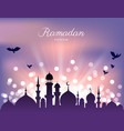 mosque silhouette and abstract light for ramadan vector image vector image