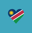 namibia flag icon in a heart shape in flat design vector image vector image