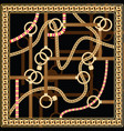 pattern with golden chain and belts for fabric vector image vector image