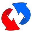 red and blue recycle arrows hand drawn sketch vector image vector image