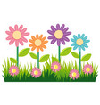 seamless nature design with flowers and grass vector image vector image