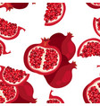 seamless pattern with sliced pomegranate vector image vector image