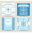 Set of four nautical invitation card template vector image vector image