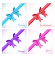 set shiny bow and ribbon on white background vector image vector image