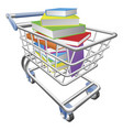 shopping trolley cart full of books concept vector image vector image