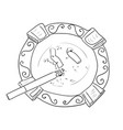 sketch ashtray with cigarette vector image vector image