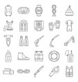 snorkeling supplies icon set outline style vector image