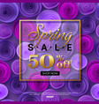 spring sale background with ultra violet paper vector image vector image