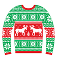 Ugly Christmas jumper or sweater with reindeer vector image vector image