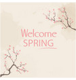 welcome spring sakura pink background image vector image vector image