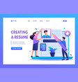 young team creates a resume applicant flat 2d vector image