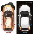 car before repair and after vector image