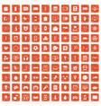 100 app icons set grunge orange vector image vector image