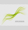 abstract green wavy lines smoke wave transparent vector image vector image