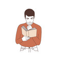 adorable thoughtful young man reading book or vector image vector image